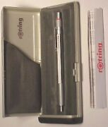 Rotring 600 Ballpoint Pen Old Style Silver Knurled Grip In Box Levengers