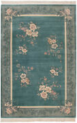 Rra 6x9 Chinese 120-line Floral Design Aqua And Grey Rug 29044