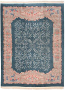 Rra 9x12 Chinese Arts And Crafts Design Teal Green Rug 19400