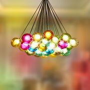 Modern Chic Cluster Pendant Light With Multi-color Hand-blown Glass Globes Home