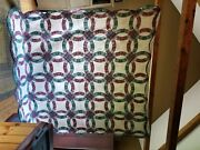 Original Amish Handmade Quilts Queen Size Beautiful Color Red Green Circular