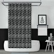 Metro Shower Curtains Black And White Astilbe Leaf Nature Pattern