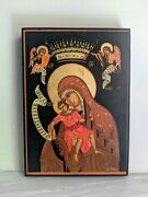 Handmade Icon From Greece Mary, Christ, Archangels With Gold Leaf 25.5 X 18 Cm
