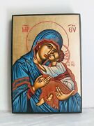 Handmade Icon From Greece Mary And Christ Hand Painted With Gold Leaf 25 X 18cm