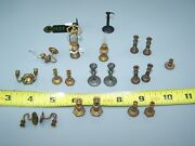 21 Vintage Miniature Doll House Metal - Brass Candle Holders And Oil Lamps Sconce
