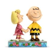 New Jim Shore Peanuts Snoopy Figurine Charlie Brown And Sally Spring Flower Statue