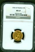 1904 Russian Ap Gold Coin 5 Rouble Ruble Roubles Ngc Ms67 Russia 7849