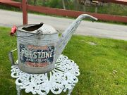Vtg Antique Prestone Anti Freeze Water Coolant Filler Can Sign Large Tin Gas Oil