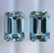 Aquamarines 5.94ct Matching Pair Expertly Faceted In Germany +cert Included