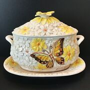 Vintage New Trends Inc Daisy Monarch Butterfly Tureen 1970s Shabby Chic