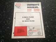 Sears 8 And 10 Inch Plow Owners Manual And Parts List Models 917.253010 And 917.253020