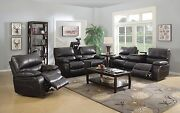 Brown Leatherette Reclining Sofa W/ Drop Down Table And Loveseat Furniture Set