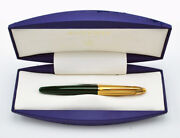Waterman Edson Fountain Pen Emerald Green And Gold 18 Kt Gold Medium Pt New In Box