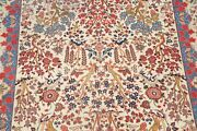 Antique Tree Of Life Floral Ivory Kashaan Hand-knotted Area Rug Living Room 8x11