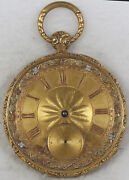 Swiss Multi-color Gold Pocket Watch 47mm Size 18k Open-face - Not Working