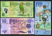 Fiji P-115r116.120. 2013 5 Zaa Replacement 7 Olympic And 10. Unc