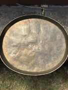 Antique 18thc Islamic Safave Rare Carved Tray King Queen Musician Dancers Birds