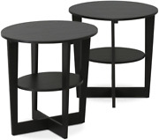 2pc Black Walnut End Table Wedge Oval Coffee Side Night Stand Small Round Wooden