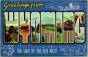 Vintage 1940s Wyoming Postcard The Land Of The Old West Curteich Linen Unused
