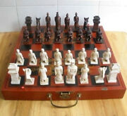 China Qin Dynasty Army Style 32 Bull-bone Pieces Chess Set And Leather Wooden Box