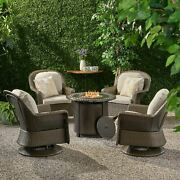 Linsten Outdoor 4 Seater Wicker Swivel Chair And Fire Pit Set