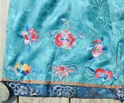 Antique Chinese Silk Embroidered Partial Skirt Panel Fragment 24 By 19 Peking