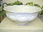 Grape And Ivy Milk Glass Punch Bowl