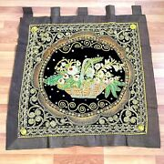 Wall Hanging Thai Burmese Kalaga Tapestry Vintage Embroidered Sequins Flower