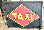 Large Antique Taxi Sign Reverse Painted On Glass Two Sided Light-up Box Art Deco