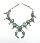 Vintage Native American Silver Large Turquoise Squash Blossom Necklace, 24