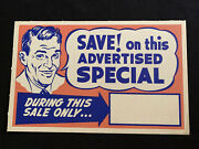 Vtg 50and039s Western Auto In Store Ad Cardboard Sign Manager Special Offer Blank 1
