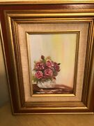 Vintage Bouquet Of Flowers Oil Paintings On Canvas By Ja In 1983. There Two