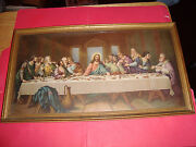 16 X 9 Vintage Wood Framed Picture The Last Supper Ready To Hang