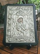 Handmade Silver Icon From Greece Mary And Jesus With Note Of Guarantee. 35x27cm