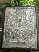 Handmade Silver Icon From Greece 'the Last Supper' - Note Of Guarantee 30.5x24cm
