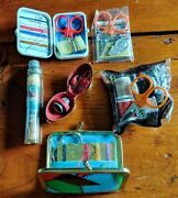 Vintage Sewing Kits Travel Lot Of 6 - Incl. Rare Goldtone Egg Leather Lined