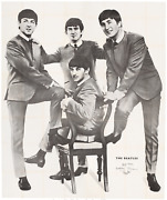 The Beatles Enormous Four Sheet Black And White 1969 Poster 1960s Fab Four