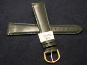 New Mens Made In France Green Genuine Leather 20mm Watch Band Gold Tone Buckle