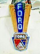 Ford Sign 16 X 8 Neon Style Sign In Steel Metal Jubilee Mustang Truck Garage +