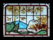 Victorian English Painted Lakeland Herons And Birds Antique Stained Glass Window