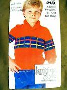 Simplicity 0451 Boy Classic Sweaters Knit Patterns 1986 16pg Booklet