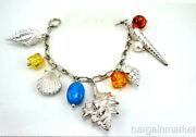 Sterling Silver Sea Shell And Beads Charm Bracelet