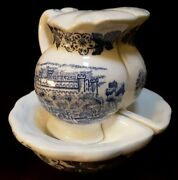 Vintage Blue And White Oriental Scenic Salt And Pepper Shakers Japan 3 1/4h