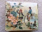 C1880s Vintage Penny Farthing Bicycle Pictorial Wooden Trinket Box