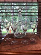 Stunning Etched Crystal Lily Of The Valley 4 Wine Glasses And Decanter