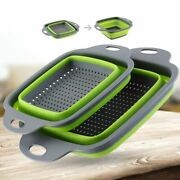 Foldable Fruit Washing Basket Strainer Portable Colander Collapsible Drainer New