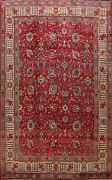 Semi-antique All-over Red Floral Tebriz Hand-knotted Area Rug Wool Carpet 10x13