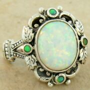 Victorian Antique Style 925 Sterling Silver Lab Opal Ring Size 8      834