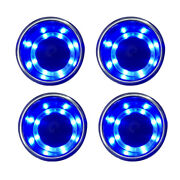 4pcs Stainless Steel Cup Drink Holder Blue Led For Marine Boat Truck Rv Sofa