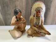 Chalkware Chalk Ware Sitting Indian Chief Peace Pipe Woman And Infant
